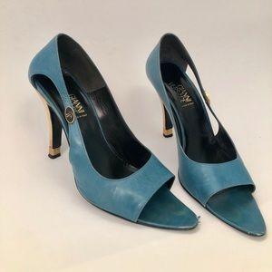 Gianni Versace blue peep toe heels